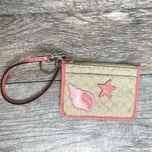 Coach Seashell Logo ID Holder Keychain